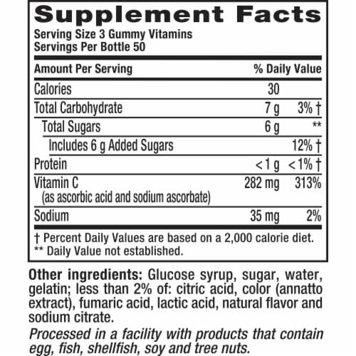 Vitafusion Power C Natural Orange Flavor Gummy Vitamins 150 Count Perspective: top