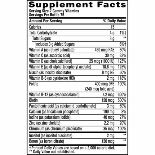 Vitafusion Women's Natural Berry Flavored Multivitamin Gummies Perspective: top