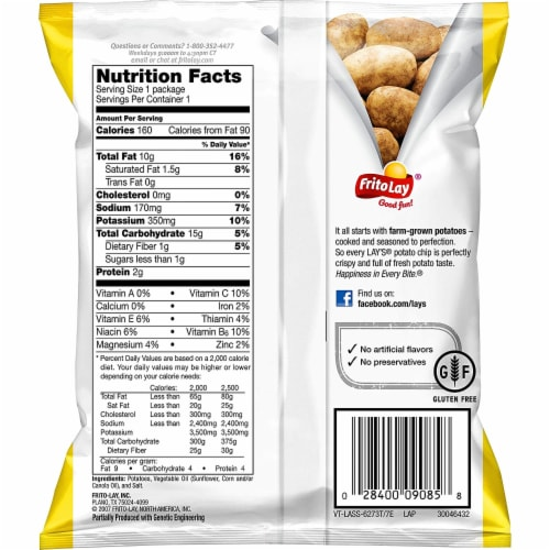 Lay's Classic Potato Chips, 1 Ounce (Pack of 40) Perspective: top