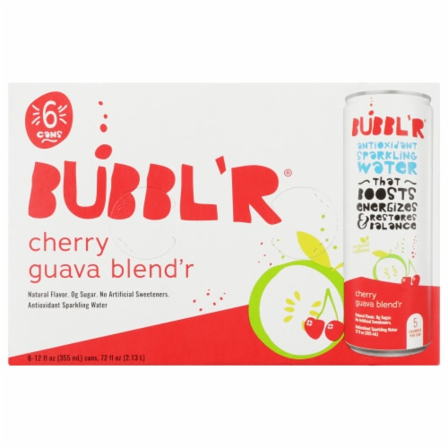 Bubbl'r Cherry Guava Blend'r Antioxidant Sparkling Water Perspective: top
