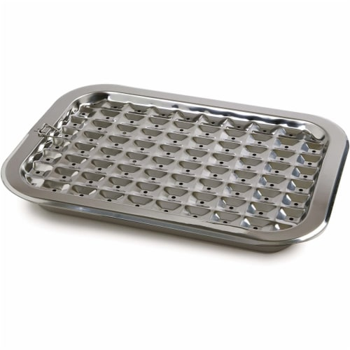 Norpro 2 Piece Stainless Steel Rectangular Oven Roasting Broil Pan and Drip Tray Perspective: top