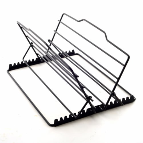 Norpro 7 Position Adjustable Non Stick V Shaped 7 x 11 Inch Roasting Rack, Black Perspective: top
