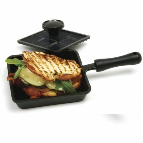 Norpro Cast Iron Mini Single Sandwich Stovetop Outdoor Panini Press Grill, Black Perspective: top