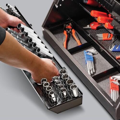 Powerbuilt Rapid Box Portable Slant Front Lockable Toolbox for Truck or Garage Perspective: top