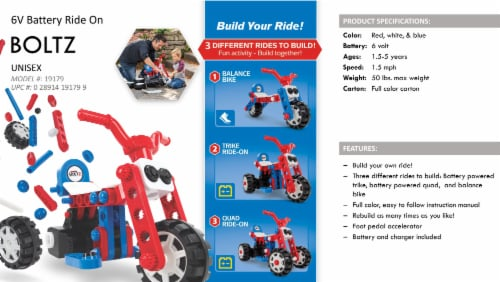 Huffy Boltz 3-in-1 Quad Powered Ride-On Trike Perspective: top