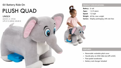Huffy Elephant Plush Quad Perspective: top