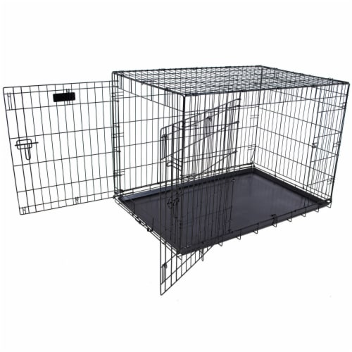 Petmate Double Door Training Retreat Wire Kennel Dog Crate with Divider, Black Perspective: top