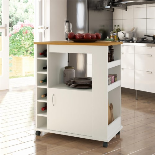 Williams Kitchen Cart, White Perspective: top