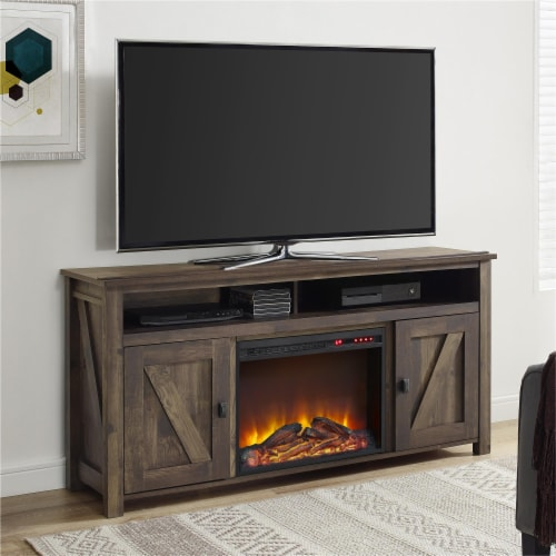 Farmington Electric Fireplace TV Console for TVs up to 60 , Rustic Perspective: top