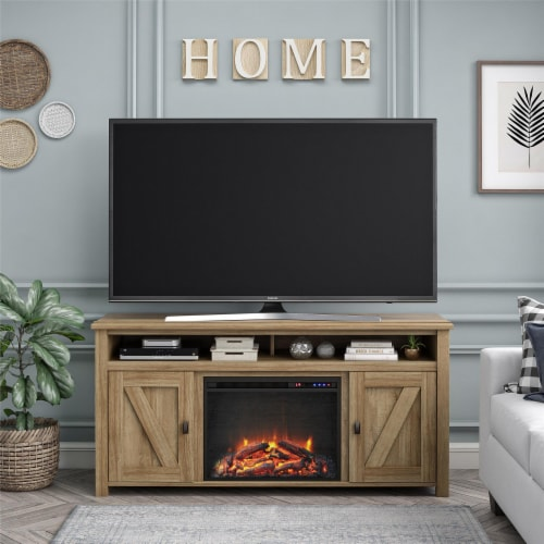 Ameriwood Home Farmington 60'' Fireplace TV Stand in Light Pine Perspective: top