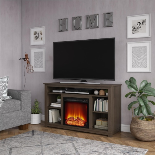 Edgewood Fireplace TV Stand for TVs up to 55 , Weathered Oak Perspective: top