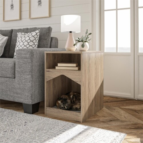 Roscoe Cat House End Table, Rustic Oak Perspective: top