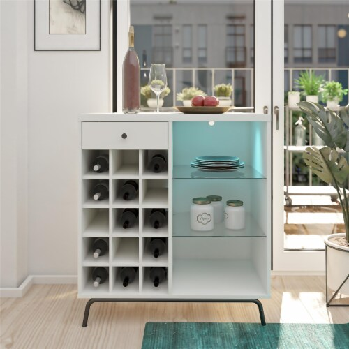 Melbourne Bar Cabinet, White Perspective: top