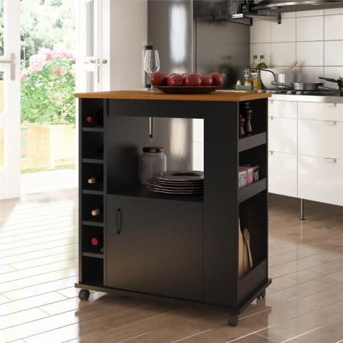 Williams Kitchen Cart, Black Perspective: top