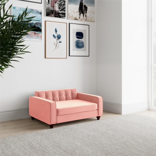 Ollie & Hutch Pin Tufted Pet Sofa, Small/Medium, Pink Velvet Perspective: top
