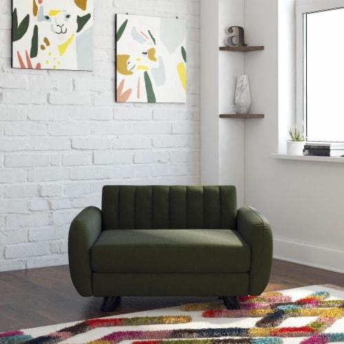 Novogratz Brittany Pet Sofa, Small/Medium Pet Bed, Green Linen Perspective: top