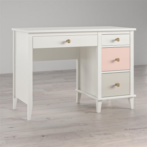 Monarch Hill Poppy Kids' White Desk, Peach and Taupe Drawers Perspective: top
