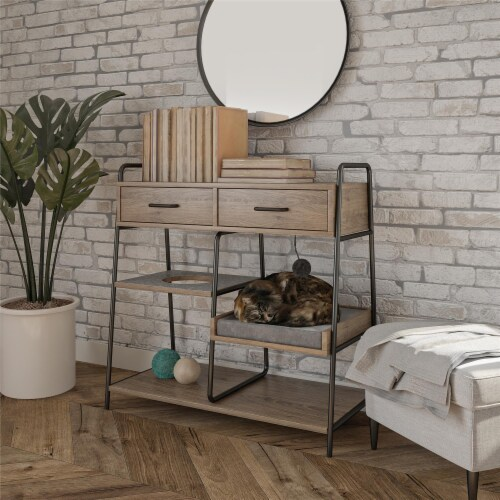 O'Malley Accent Table with Cat Bed, Rustic Oak Perspective: top