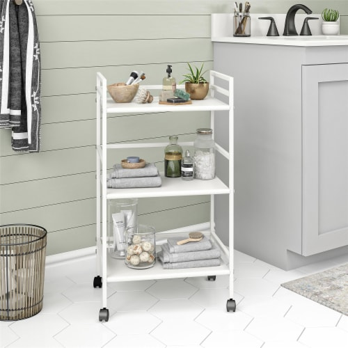 Marshall 3 Shelf Metal Rolling Utility Cart, White Perspective: top