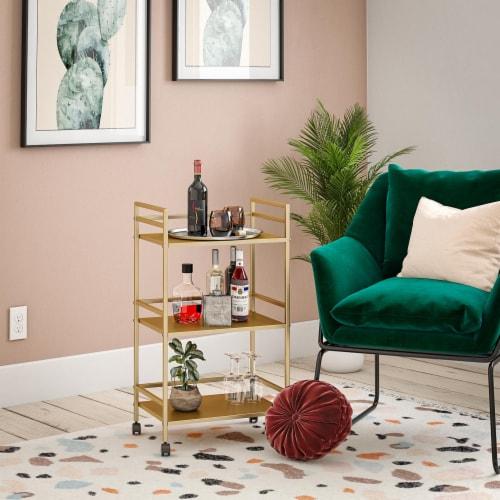 Helix 3 Shelf Metal Rolling Utility Cart, Gold Perspective: top