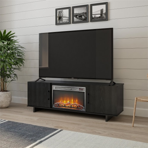 Southlander TV Stand with Fireplace for TVs up to 60 , Black Oak Perspective: top