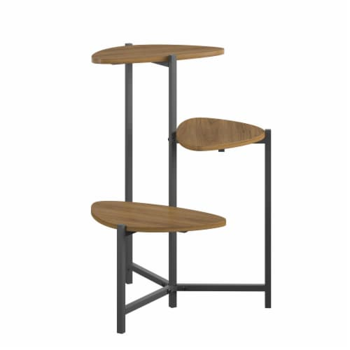 Tallulah Plant Stand, Walnut/Gray Perspective: top