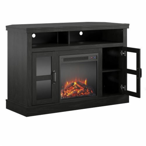 """Tinley Park Corner TV Stand with Fireplace for TVs up to 54"""", Black Oak Perspective: top"""