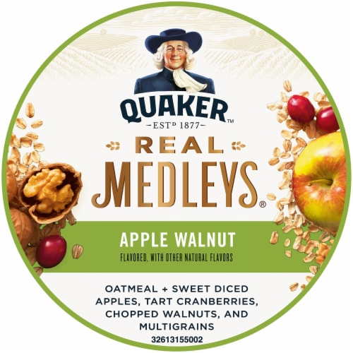 Quaker Real Medleys Apple Walnut Instant Oatmeal Cereal Cup Perspective: top