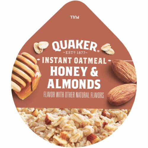Quaker Instant Oatmeal Express Breakfast Cereal Cup Honey and Almonds Sugar Perspective: top
