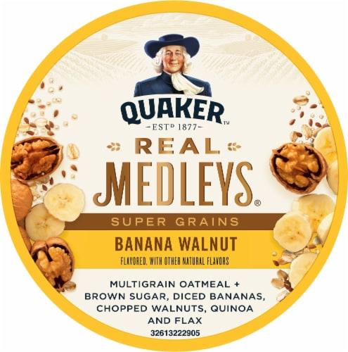 Quaker Real Medleys Super Grains Banana Walnut Oatmeal Cereal Cup Perspective: top