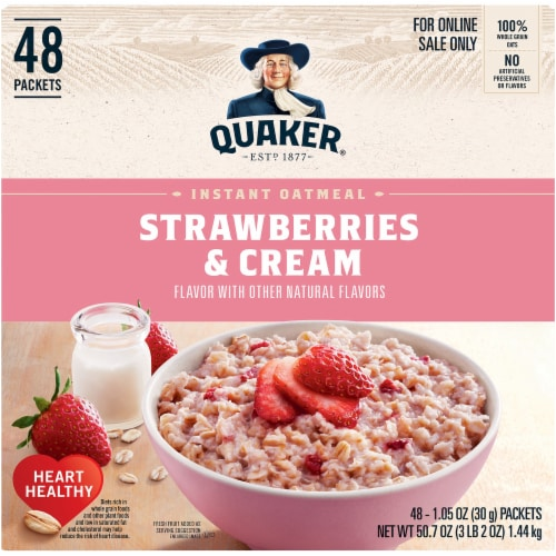 Quaker Strawberries & Cream Flavor Instant Oatmeal Perspective: top