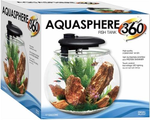 Penn-Plax AquaSphere 360 Bowl-Shaped Aquarium Integrated Filtration System & LED - 24 Gallons Perspective: top