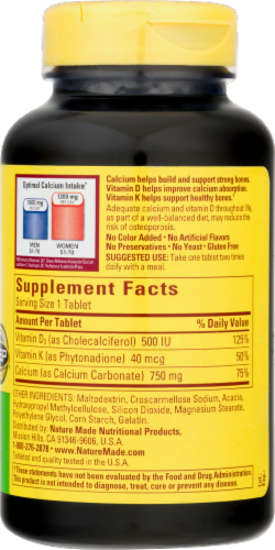 Nature Made Calcium 750 mg+D+K Tablets Perspective: top
