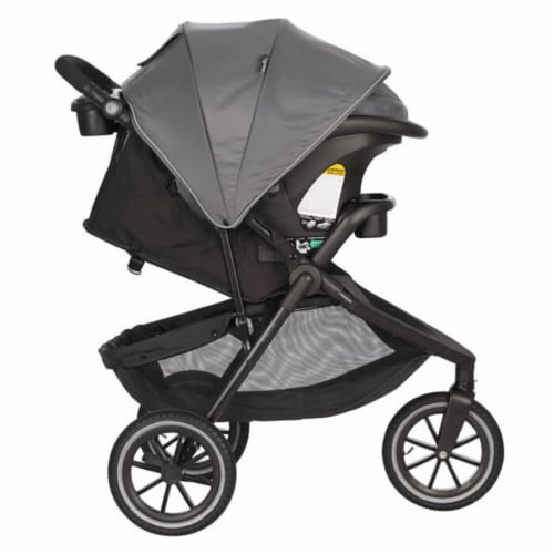 Evenflo Folio3 Stroller Jogger Travel System w/ LiteMax 35 Car Seat, Avenue Gray Perspective: top