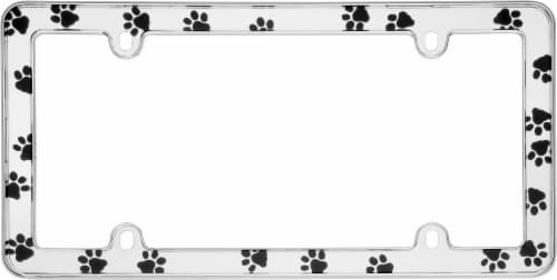 Cruiser Accessories Paws License Plate Frame - Chrome Perspective: top