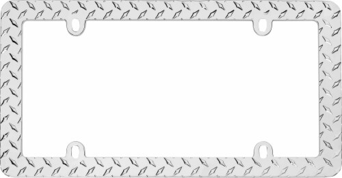 Cruiser Accessories Diamond Plate License Plate Frame - Silver Perspective: top