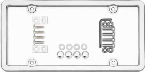 Cruiser Accessories Ultimate Tuf Combo License Plate Frame - Silver/Clear Perspective: top