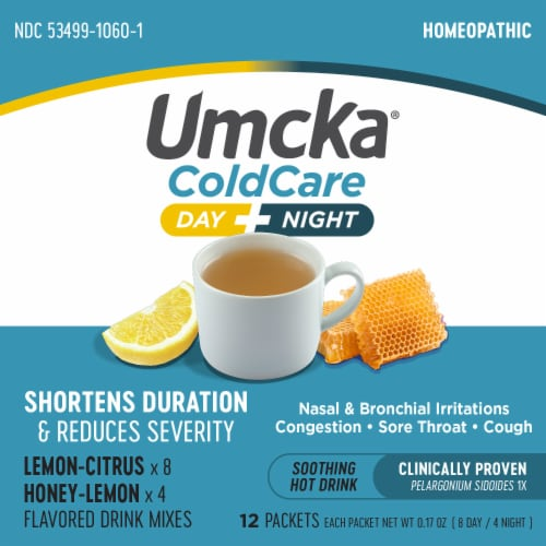 Nature's Way Umcka Cold Care Day & Night Lemon Citrus Flavored Packets Perspective: top