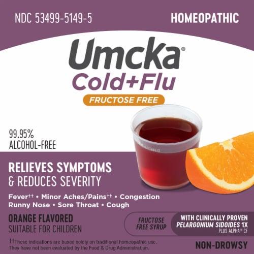 Nature's Way Umcka Cold + Flu Sugar Free Orange Flavor Syrup Perspective: top