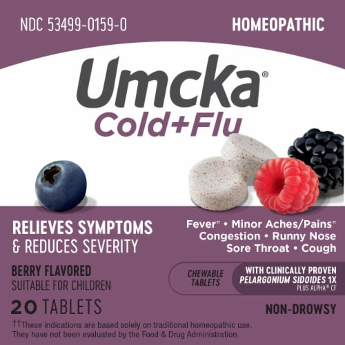 Nature's Way Umcka Cold & Flu Berry Flavor Chewable Tablets Perspective: top