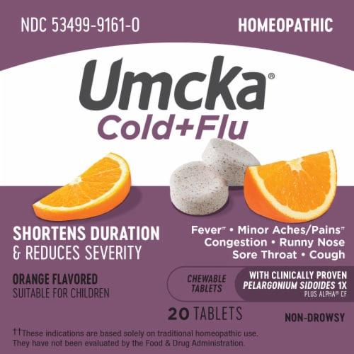 Nature's Way Umcka Cold + Flu Orange Flavor Chewable Tablets Perspective: top