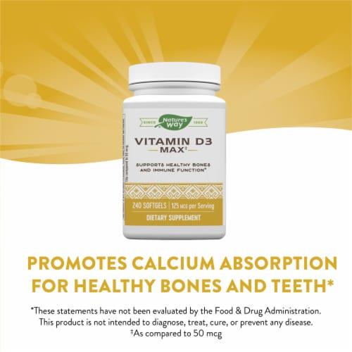Nature's Way Vitamin D3 Max Bone and Immunity Supplement Softgels 125mcg Perspective: top