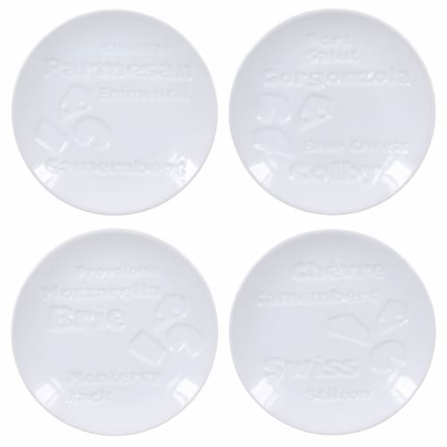 BIA Cordon Bleu Debossed Cheese Plates Set - White Perspective: top