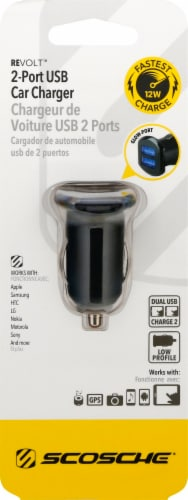 Scosche ReVOLT Dual 12-Watt USB Car Charger with Illuminated Ports - Black Perspective: top