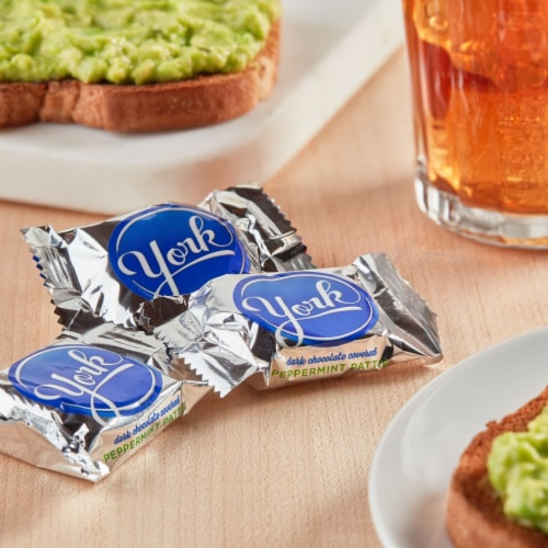 York  Dark Chocolate Covered Peppermint Patties Candy Party Pack Perspective: top