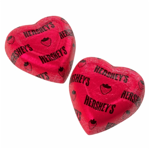 Hershey's Valentine's Extra Creamy Strawberry Creme Filled Milk Chocolate Hearts Perspective: top