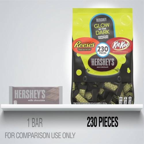 Hershey's Glow In The Dark Miniature Wrappers Milk Chocolate Candy Assortment Perspective: top