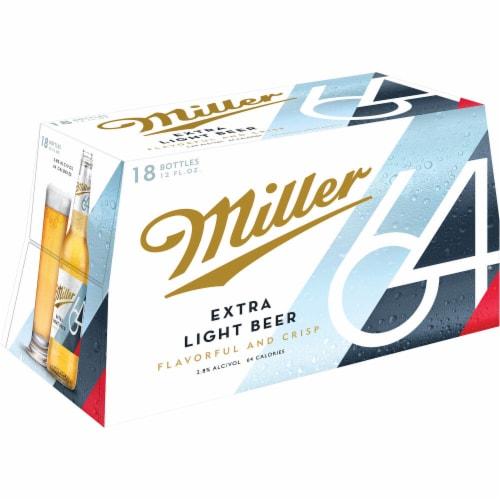Miller64 Extra Light Lager Beer 18 Bottles Perspective: top