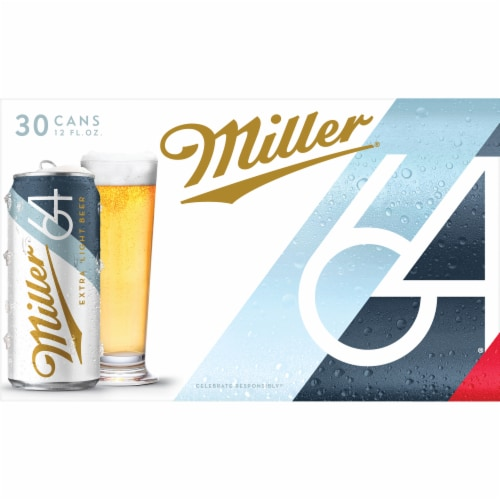 Miller64 Extra Light Lager Beer 30 Cans Perspective: top