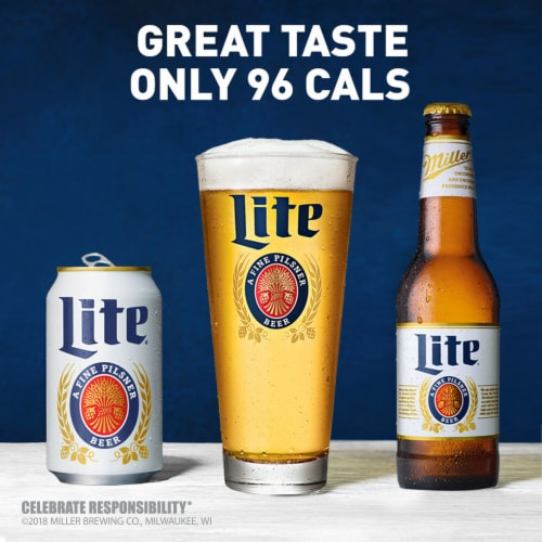 Miller Lite American Lager Beer Perspective: top